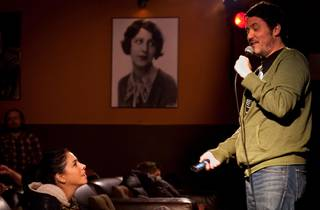 Doug Benson jokes with guest comedian Sarah Silverman before the Movie Interruption