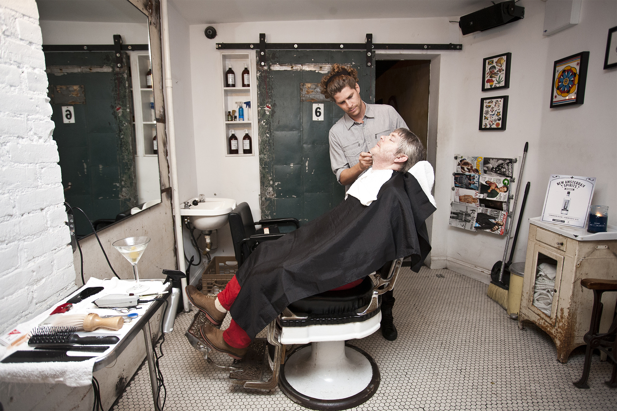 Luke Wessman At A Barber In Lower East Side New York Called Ludlow Supply Beard Tattoos Rolex And Rings