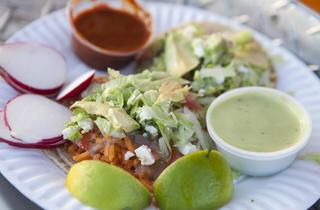 Vegetarian tacos at Tacos Leo
