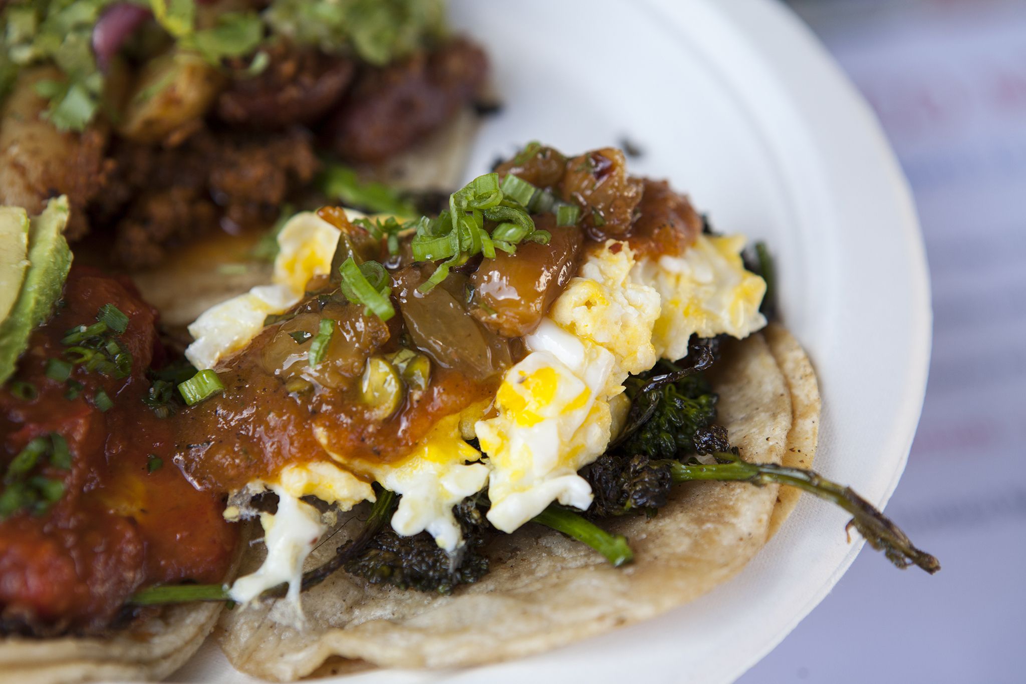 Broccoli and egg taco at Guerilla Tacos