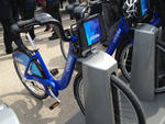 A Citi Bike in a docking station in Dumbo