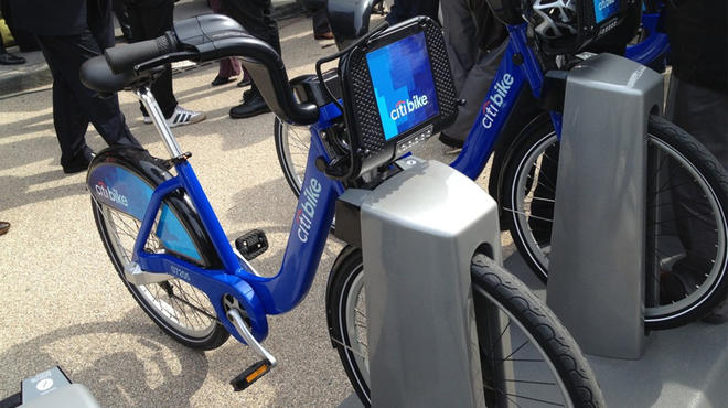 A CitiBike in a docking station in Dumbo