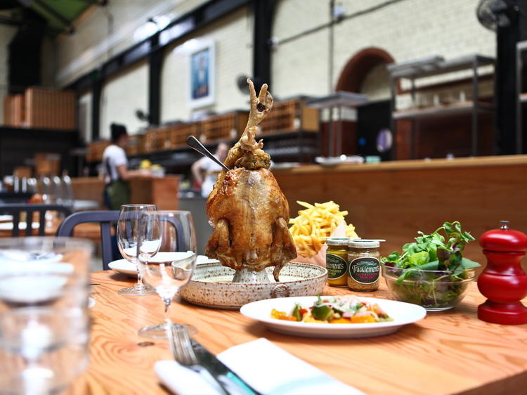 Whole roast chicken at Tramshed