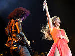 "Beyonce performs with guitarist Bibi on the opening night of her ""Mrs. Carter Show World Tour 2013"""