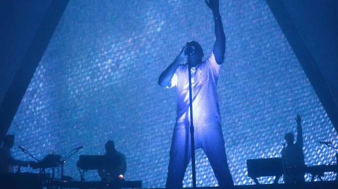 Kanye West performs at the Adult Swim Upfront party at Roseland Ballroom