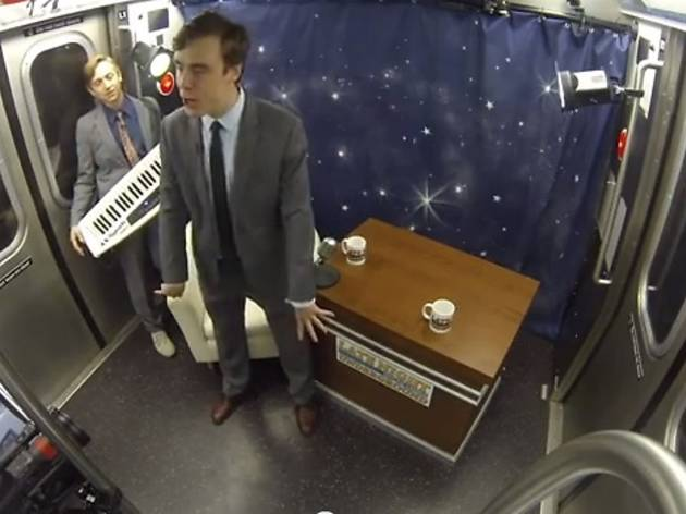Watch: Improv Everywhere turns a subway car into a talk-show studio