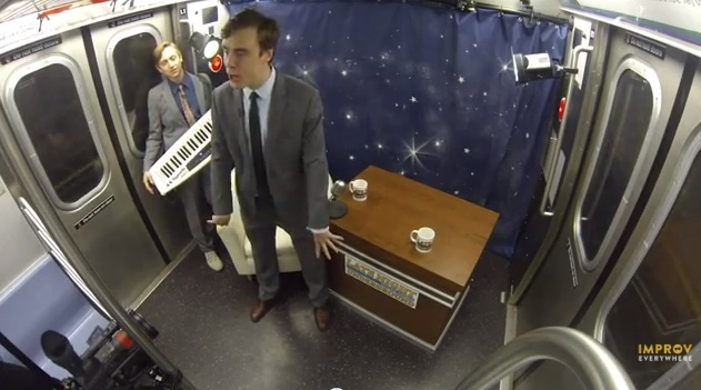 Watch: Improv Everywhere turns a subway car into a talk-show studio