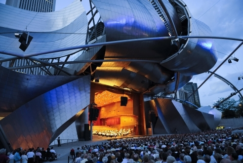 The Jay Pritzker Pavilion at night, Chicago