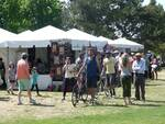 Festival goers shopping at the Marketplace.