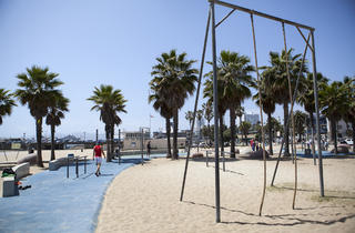 Swings, rings and ropes south of Santa Monica Pier