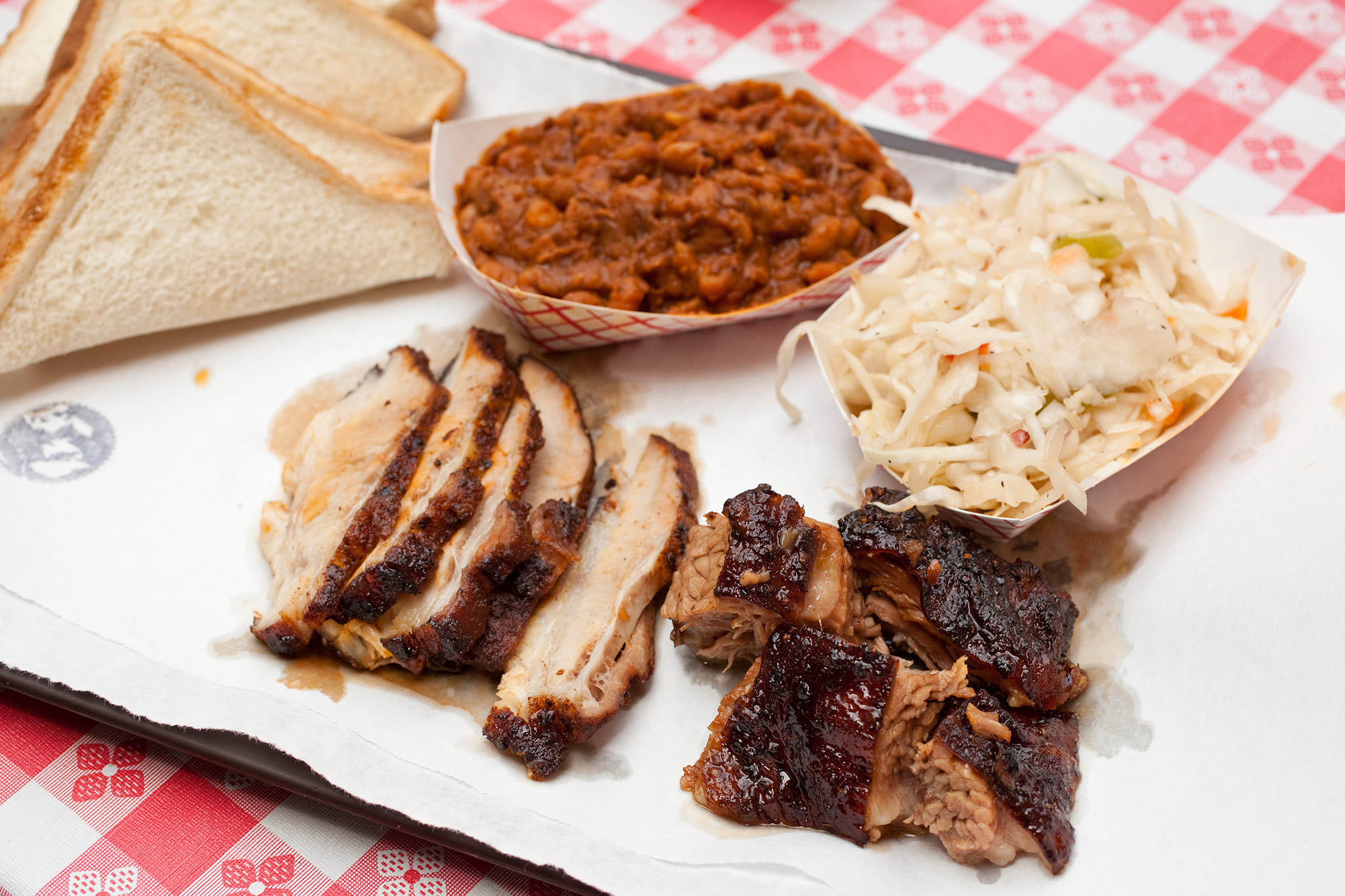 Barbeque platter at John Brown Smokehouse