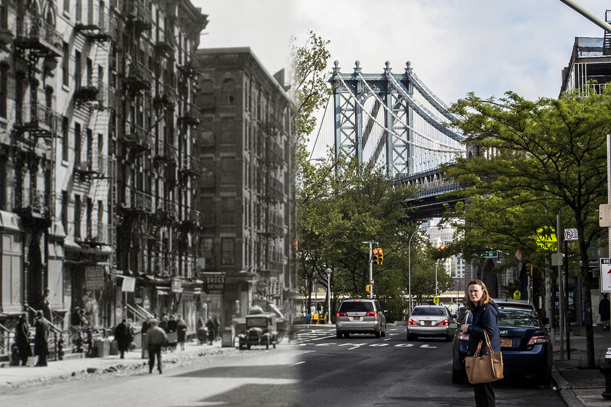 Compare vintage NYC street scenes with their modern counterparts