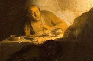 (Rembrandt, 'Les Pèlerins d'Emmaüs' (détail), c. 1628 / Paris, musée Jacquemart -André  - Institut de France / © C. Recoura)