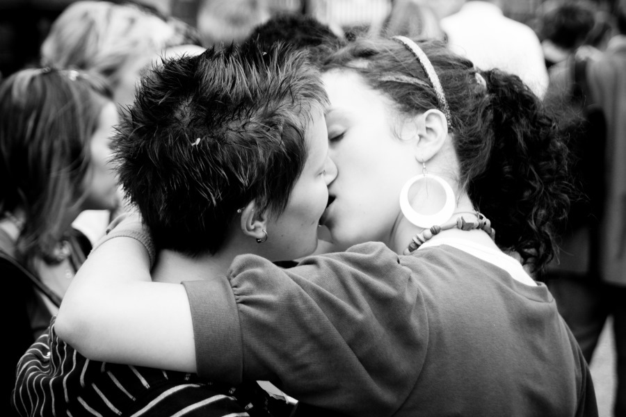 Girls Lesbian french kissing