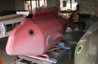 Fish caskets at the workshop