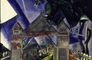 (Marc Chagall, 'Les Portes du cimetière juif', 1917 / © ADAGP / © Centre Pompidou, MNAM-CCI, Dist. RMN-Grand Palais Paris, Musée d'art et d'histoire du Judaïsme)