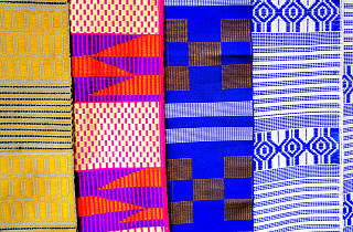 Kente cloth on sale at a roadside stall, fabric, Accra, Ghana