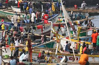 Fishing boats in Elmina, Ghana