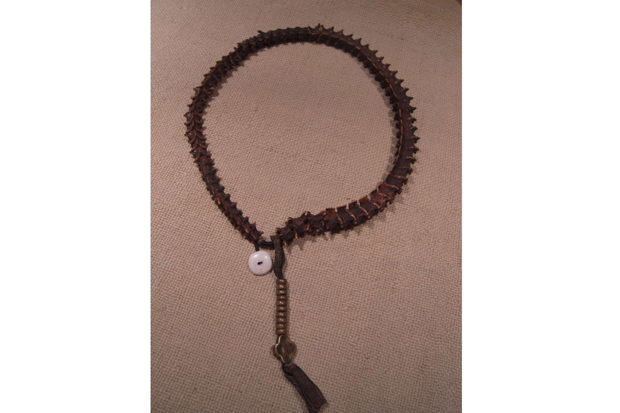 Prayer beads made from snake spine at the Rubin Museum of Art