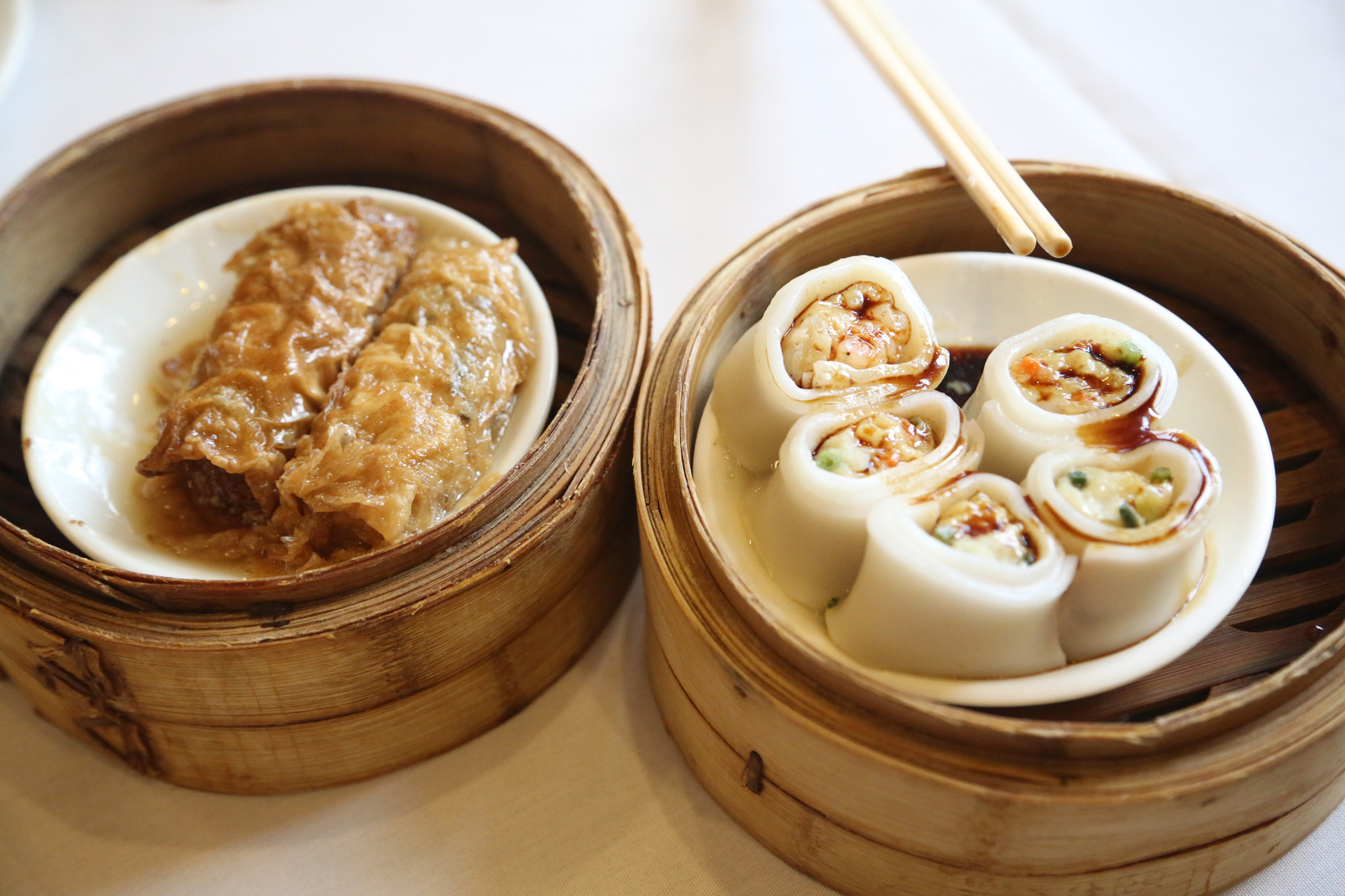 Glutinous flour dumplings and braised bean-curd-skin rolls at East Harbor Seafood Palace