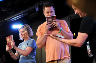 Amy Poehler, Matt Besser and Matt Walsh with the newly finished UCB book