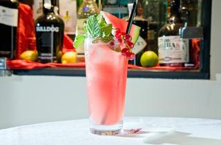 Watermelon Martini (Ingredients: Síndria triturada, sucre, vodka, xarop de meló, suc de llimona, triangle de síndria i un pot per escopir les llavors (és broma).)