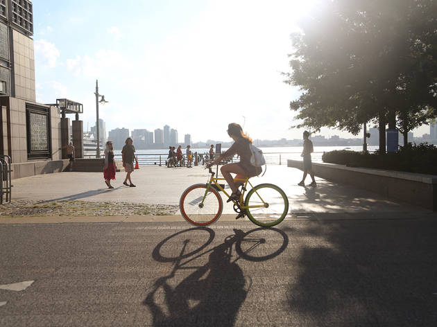 Biking in Hudson River Park