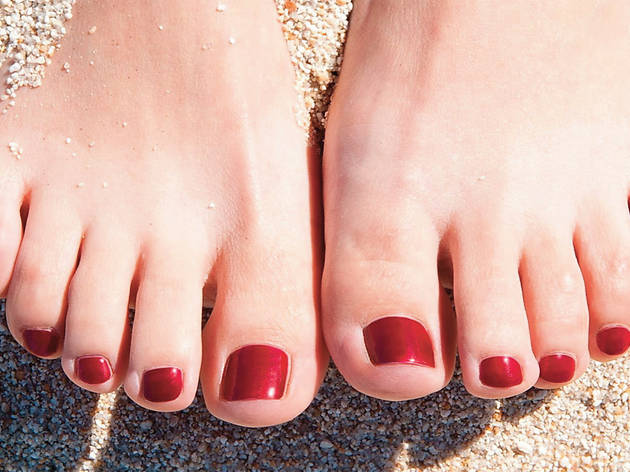 Pedicure, toes, beach, feet