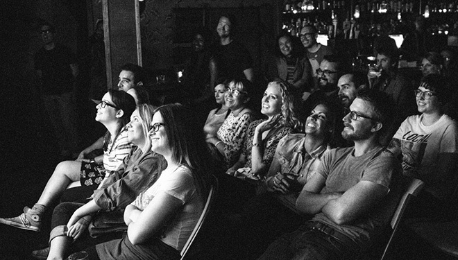 Crowd at the Super Serious Show at the Virgil.