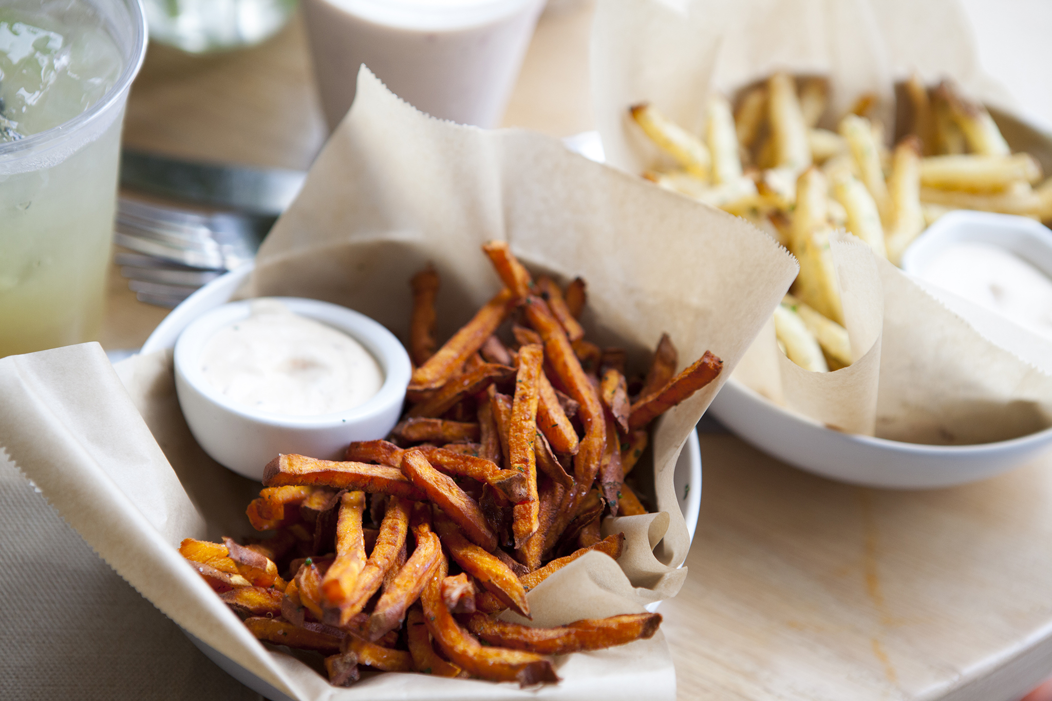 Organic sweet potato and russet potato fries at Pono Burger