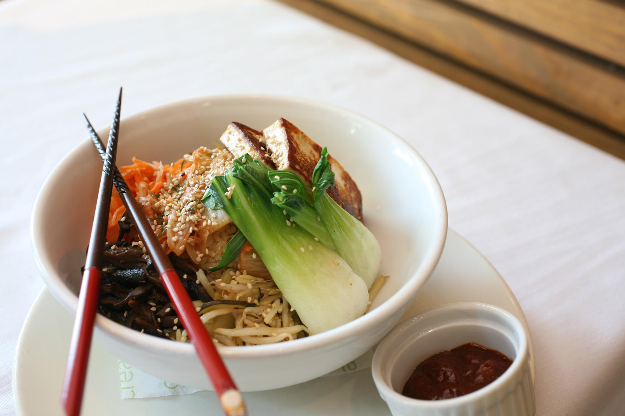 rice bowl, m cafe, vegan, korean food