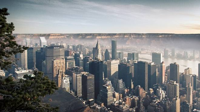 Gus Petro's landscape mashes up NYC and the Grand Canyon