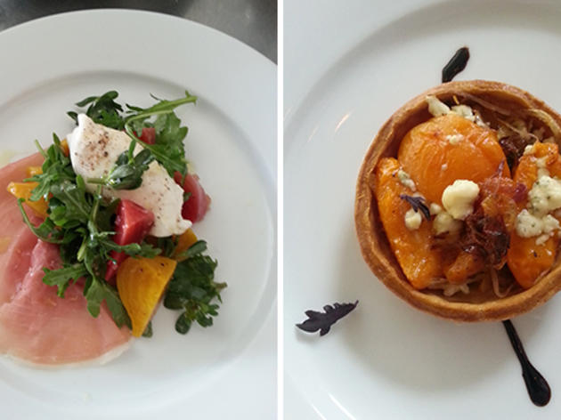 Weiser Farms beets and buratta salad and Apricot onion tart at Josie