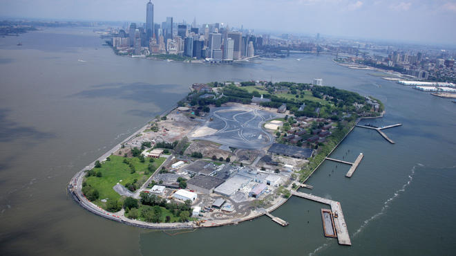 Aerial view of Governors Island construction