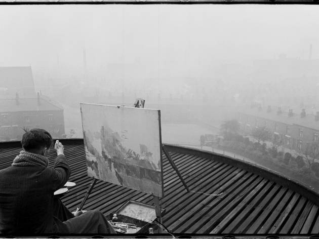 Humphrey Spender (William Coldstream painting Bolton from the roof of Mere Hall Gallery, 1937/38)