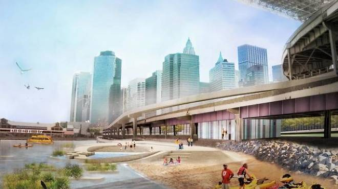 Rendering of Brooklyn Bridge Beach