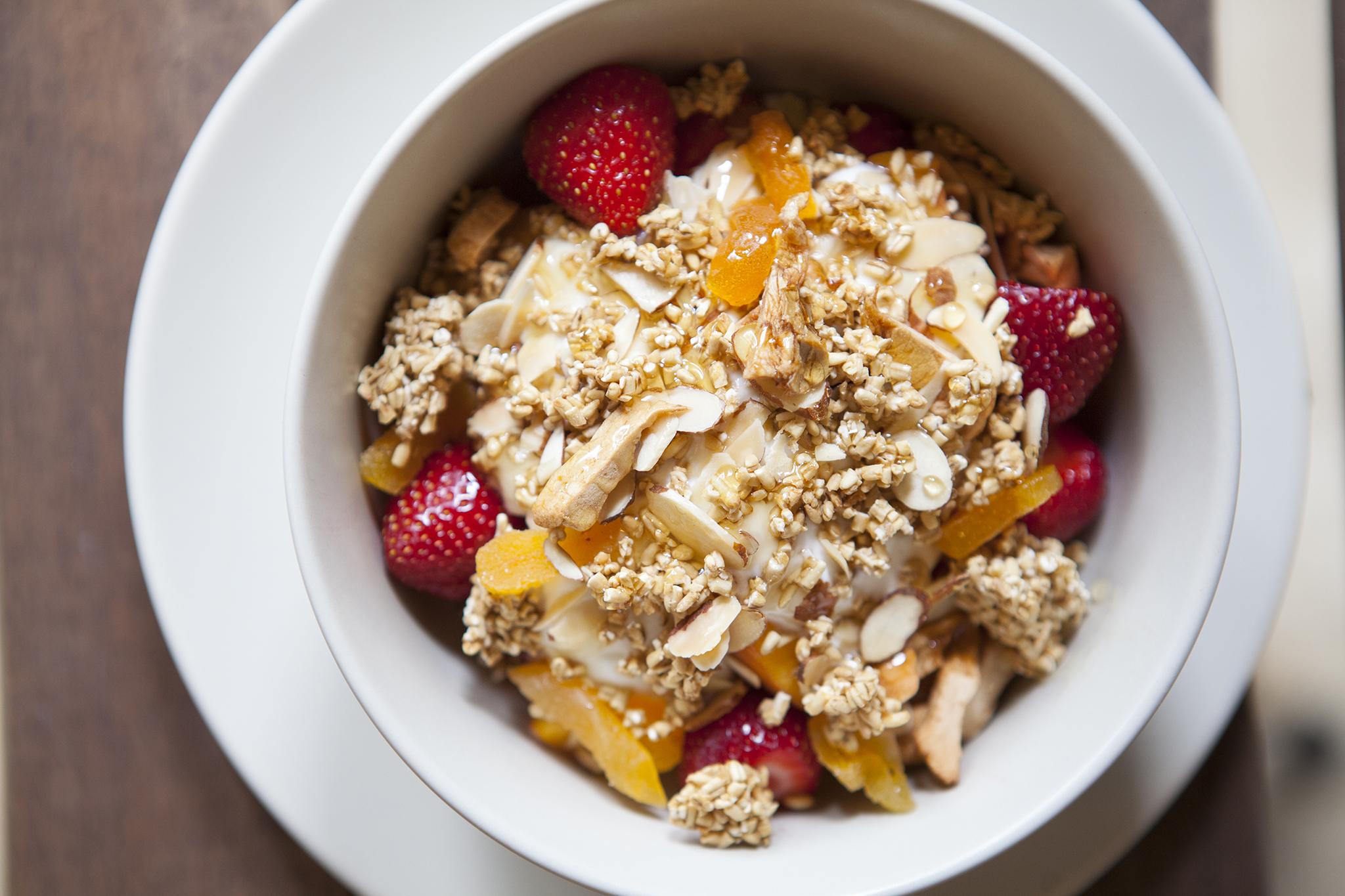 <p>Muesli with yogurt, fruit and honey at Valerie Echo Park</p>