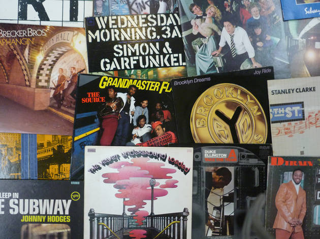 See record covers photographed in the NYC subway