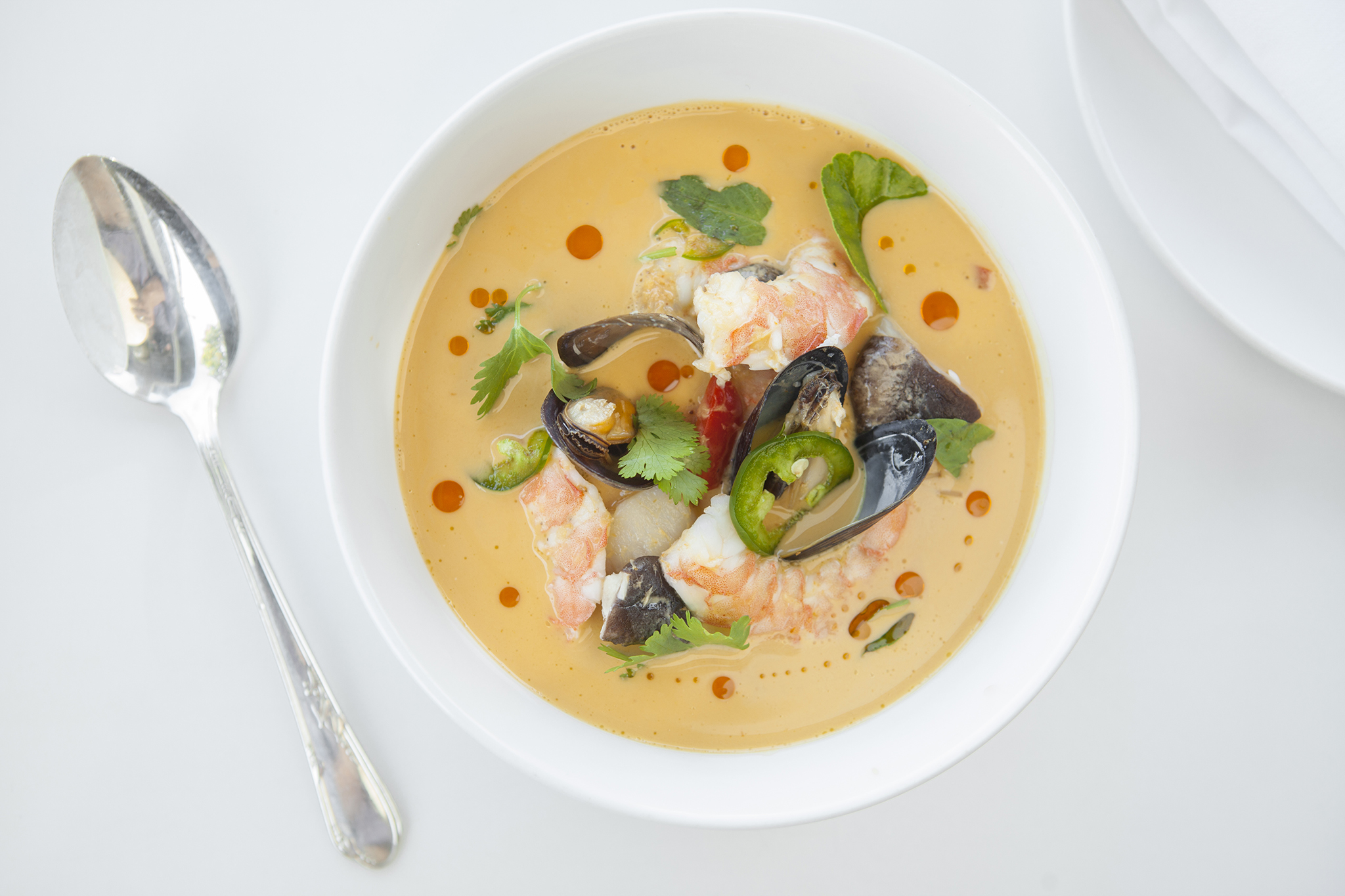 <p>Thai shellfish & coconut soup at Fishing with Dynamite</p>