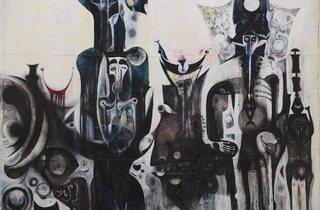 Ibrahim El-Salahi  ('Reborn Sounds of Childhood Dreams 1', 1962-3 )