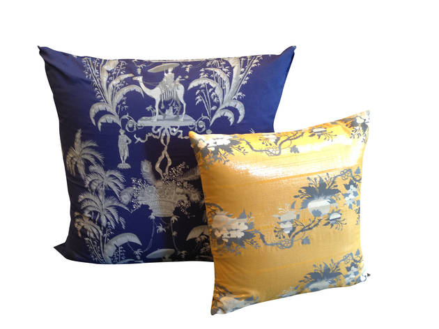 Layla silkscreened pillow covers, $175–$215 each