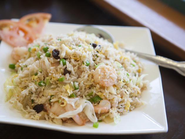 <p>Shrimp with pineapple fried rice at Golden City</p>