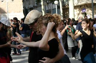 Swing dancing in the streets