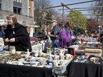 Shoppers and items on sale at Bermondsey Antiques Market