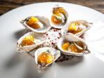 Oyster, Kalamansi, Basil Caviar, Mango Snow at Malt n Mash