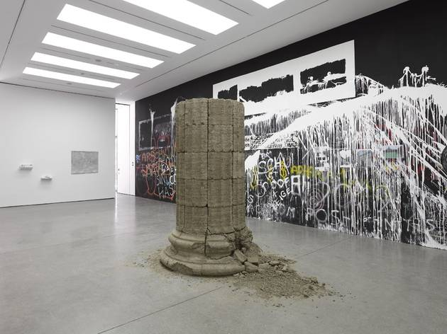 Open Cube (Exhibition view featuring 'Untitled (column)' by Adrian Amaral and 'Peace Wall' by Nada Prlja)