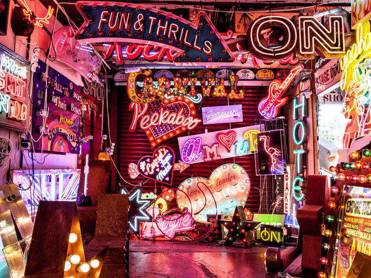 Be dazzled by a neon wonderland at God's Own Junk Yard