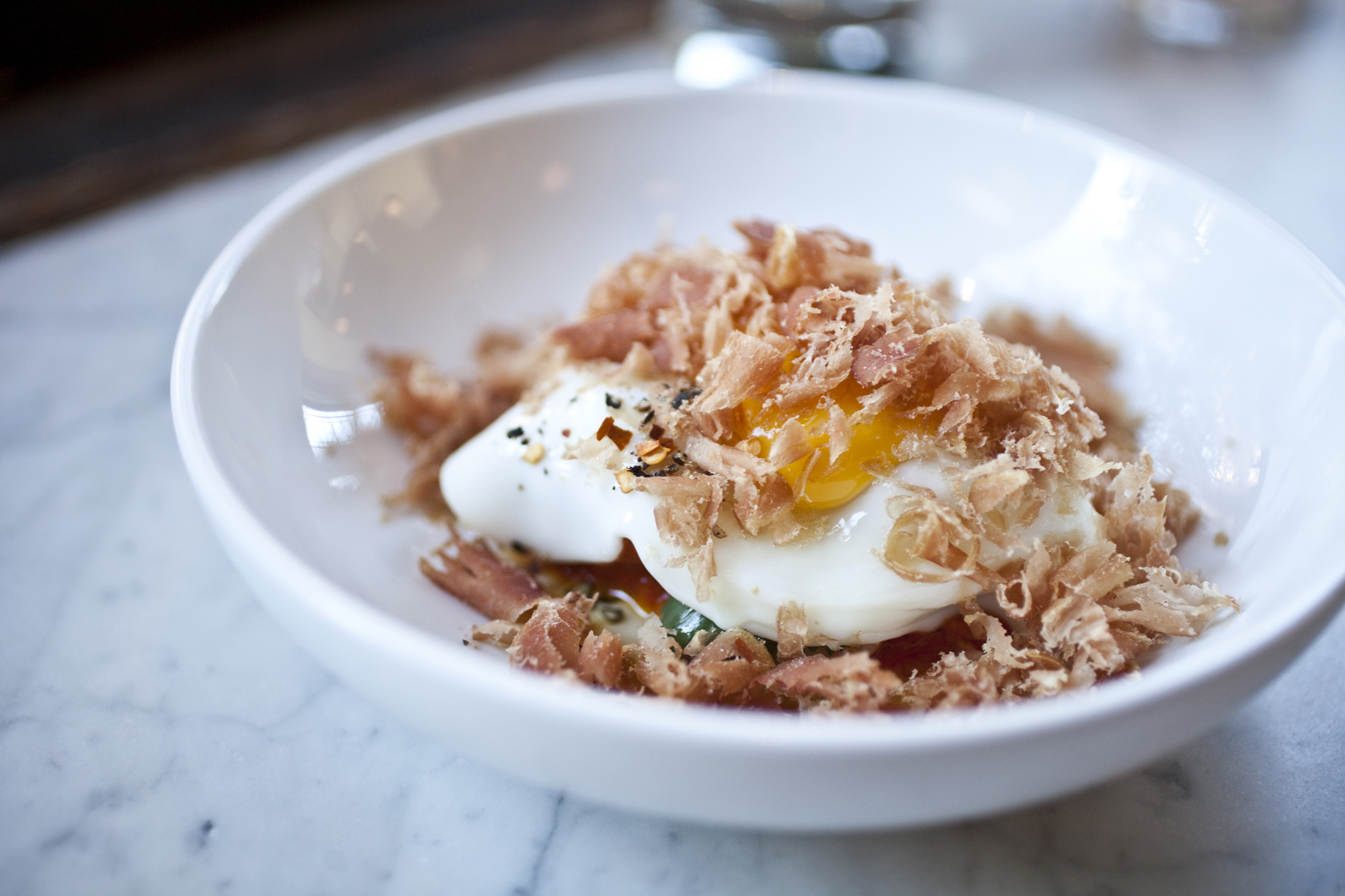 egg with cured tuna and harissa