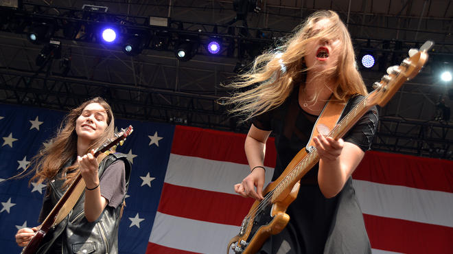 Haim performs at the 2013 Made in America Festival in Philadelphia on August 31, 2013.