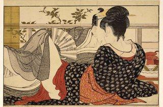 Kitagawa Utamaro ('Lovers in the upstairs room of a teahouse, from Utamakura (Poem of the Pillow)', c1788)
